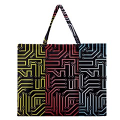 Circuit Board Seamless Patterns Set Zipper Large Tote Bag