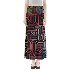 Circuit Board Seamless Patterns Set Full Length Maxi Skirt