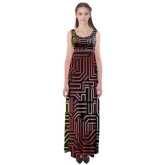 Circuit Board Seamless Patterns Set Empire Waist Maxi Dress