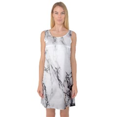 Marble Pattern Sleeveless Satin Nightdress