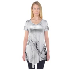 Marble Pattern Short Sleeve Tunic