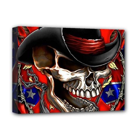 Confederate Flag Usa America United States Csa Civil War Rebel Dixie Military Poster Skull Deluxe Canvas 16  X 12