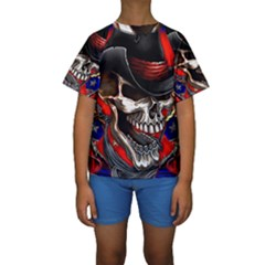 Confederate Flag Usa America United States Csa Civil War Rebel Dixie Military Poster Skull Kids  Short Sleeve Swimwear