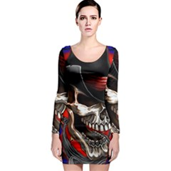 Confederate Flag Usa America United States Csa Civil War Rebel Dixie Military Poster Skull Long Sleeve Bodycon Dress