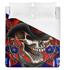 Confederate Flag Usa America United States Csa Civil War Rebel Dixie Military Poster Skull Duvet Cover (queen Size)