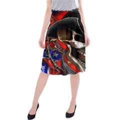 Confederate Flag Usa America United States Csa Civil War Rebel Dixie Military Poster Skull Midi Beach Skirt