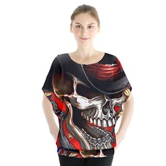 Confederate Flag Usa America United States Csa Civil War Rebel Dixie Military Poster Skull Blouse