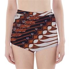Traditional Batik Sarong High Waisted Bikini Bottoms