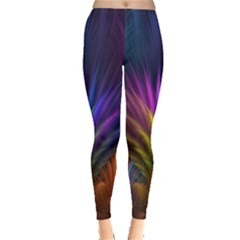 Colored Rays Symmetry Feather Art Leggings
