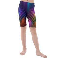 Colored Rays Symmetry Feather Art Kids  Mid Length Swim Shorts
