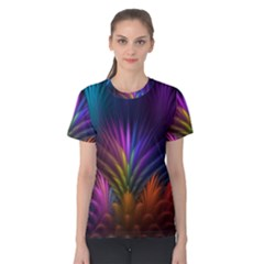 Colored Rays Symmetry Feather Art Women s Cotton Tee