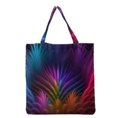 Colored Rays Symmetry Feather Art Grocery Tote Bag