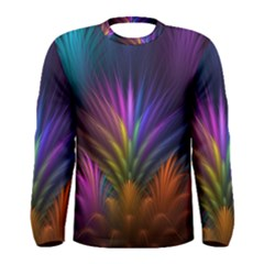Colored Rays Symmetry Feather Art Men s Long Sleeve Tee