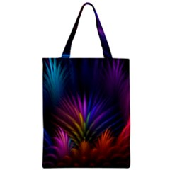 Colored Rays Symmetry Feather Art Zipper Classic Tote Bag