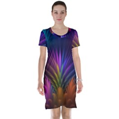 Colored Rays Symmetry Feather Art Short Sleeve Nightdress