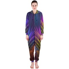 Colored Rays Symmetry Feather Art Hooded Jumpsuit (ladies)