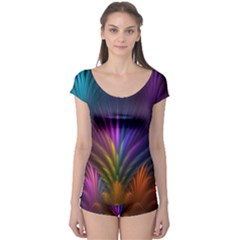 Colored Rays Symmetry Feather Art Boyleg Leotard