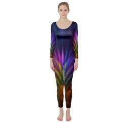 Colored Rays Symmetry Feather Art Long Sleeve Catsuit