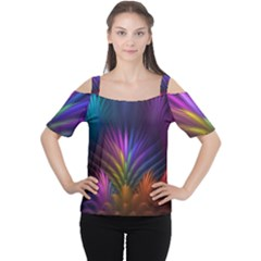 Colored Rays Symmetry Feather Art Cutout Shoulder Tee