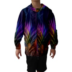 Colored Rays Symmetry Feather Art Hooded Wind Breaker (kids)