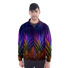 Colored Rays Symmetry Feather Art Wind Breaker (men)