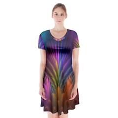 Colored Rays Symmetry Feather Art Short Sleeve V Neck Flare Dress