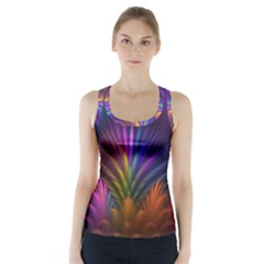 Colored Rays Symmetry Feather Art Racer Back Sports Top