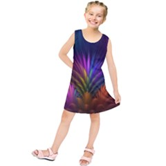 Colored Rays Symmetry Feather Art Kids  Tunic Dress