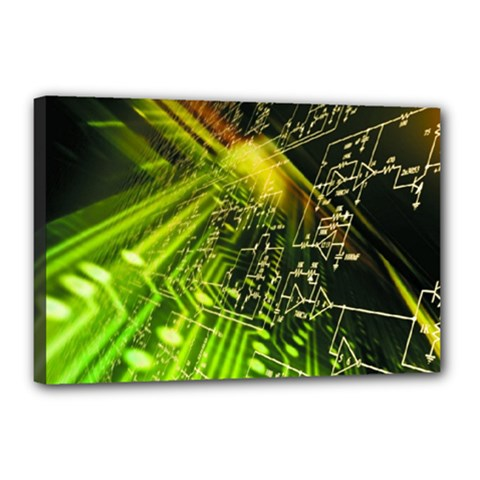Electronics Machine Technology Circuit Electronic Computer Technics Detail Psychedelic Abstract Patt Canvas 18  X 12