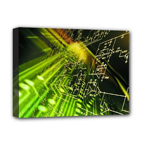 Electronics Machine Technology Circuit Electronic Computer Technics Detail Psychedelic Abstract Patt Deluxe Canvas 16  X 12