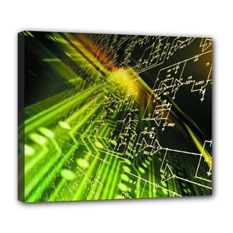 Electronics Machine Technology Circuit Electronic Computer Technics Detail Psychedelic Abstract Patt Deluxe Canvas 24  X 20