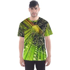 Electronics Machine Technology Circuit Electronic Computer Technics Detail Psychedelic Abstract Patt Men s Sports Mesh Tee