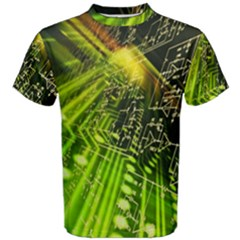Electronics Machine Technology Circuit Electronic Computer Technics Detail Psychedelic Abstract Patt Men s Cotton Tee