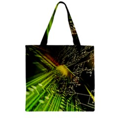 Electronics Machine Technology Circuit Electronic Computer Technics Detail Psychedelic Abstract Patt Zipper Grocery Tote Bag