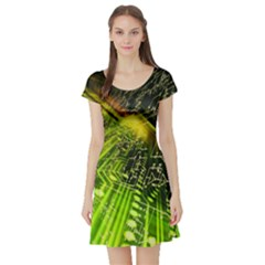 Electronics Machine Technology Circuit Electronic Computer Technics Detail Psychedelic Abstract Patt Short Sleeve Skater Dress