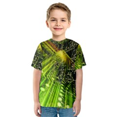 Electronics Machine Technology Circuit Electronic Computer Technics Detail Psychedelic Abstract Patt Kids  Sport Mesh Tee