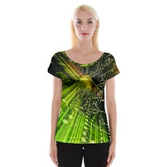 Electronics Machine Technology Circuit Electronic Computer Technics Detail Psychedelic Abstract Patt Cap Sleeve Tops