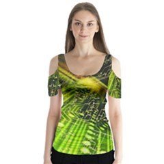 Electronics Machine Technology Circuit Electronic Computer Technics Detail Psychedelic Abstract Patt Butterfly Sleeve Cutout Tee