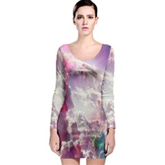 Clouds Multicolor Fantasy Art Skies Long Sleeve Bodycon Dress