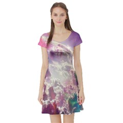 Clouds Multicolor Fantasy Art Skies Short Sleeve Skater Dress