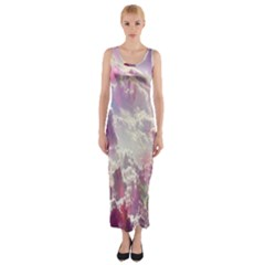 Clouds Multicolor Fantasy Art Skies Fitted Maxi Dress