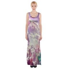 Clouds Multicolor Fantasy Art Skies Maxi Thigh Split Dress