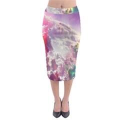 Clouds Multicolor Fantasy Art Skies Midi Pencil Skirt