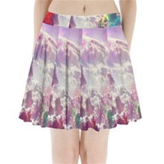 Clouds Multicolor Fantasy Art Skies Pleated Mini Skirt