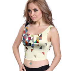 Retro Pattern Of Geometric Shapes Crop Top