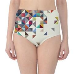 Retro Pattern Of Geometric Shapes High Waist Bikini Bottoms