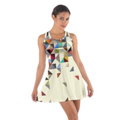 Retro Pattern Of Geometric Shapes Cotton Racerback Dress
