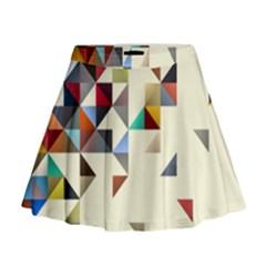 Retro Pattern Of Geometric Shapes Mini Flare Skirt