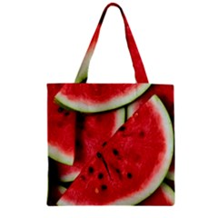 Fresh Watermelon Slices Texture Zipper Grocery Tote Bag