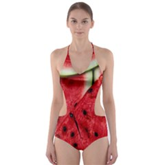 Fresh Watermelon Slices Texture Cut Out One Piece Swimsuit